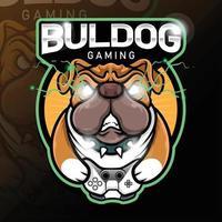 stock vector angry buldog gaming esport logo template