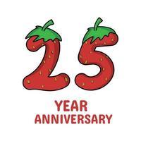 Ilustración de diseño de plantilla de vector de personaje de fresa de celebración de aniversario de 25 años