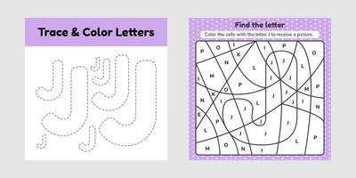libro para colorear, hoja de trabajo para niños, para preescolar, jardín de infantes y edad escolar, trazar línea, escribir y colorear j vector