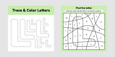 Coloring book letter for kids Worksheet for preschool kindergarten and school age Trace line Write and color L vector