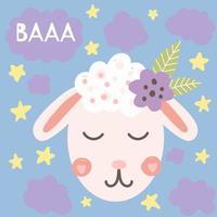 linda cabeza de oveja con flor, ilustración infantil, impresión de vivero para camisas, carteles, decoración de la habitación, tarjetas de felicitación vector