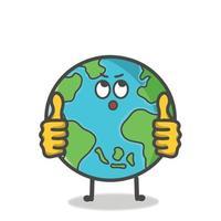 Cute Globe Earth Character Flat Cartoon Emoticon Vector Template Design Illustration