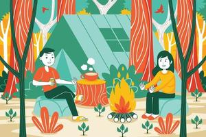 Camping Vector Illustration in Flat Design Style