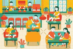 People in Cozy Cafe Vector Illustration in Flat Design Style