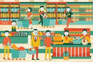 Supermarket Vector Illustration in Flat Design Style