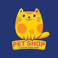 Pet Shop Mascot Logo Vector in Flat Design Style