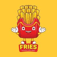French Fries Mascot Logo Vector in Flat Design Style