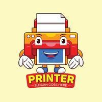 vector de logotipo de mascota de impresora en estilo de diseño plano