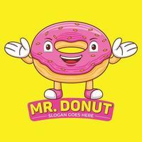 Donut Mascot Logo Vector in Flat Design Style