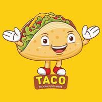 Taco Mascot Logo Vector in Flat Design Style