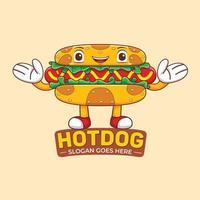 vector de logotipo de mascota de perro caliente en estilo de diseño plano