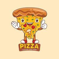 Pizza Mascot Logo Vector in Flat Design Style