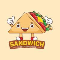 Sandwich Mascot Logo Vector in Flat Design Style