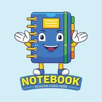 Notebook Mascot Logo Vector in Flat Design Style