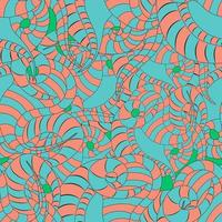 pink and turquoise snake cartoon seamless pattern reptile skin on a green background vector