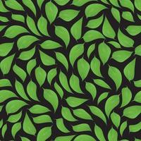 Green leaves seamless pattern on black background vector