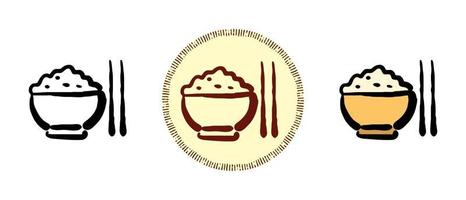 Contour and color and retro symbols of boiled rice vector