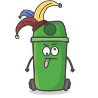 Cute Garbage Can Character Flat Cartoon Emoticon Vector Template Design Illustration