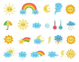 Set of cute cartoon weather icons. Vector illustrations
