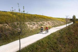 Transport concept with people on bicycles photo