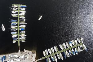 Transport concept with boats in harbor photo