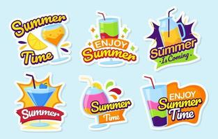 Summer Drink Stickers Collection vector