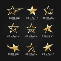 colección de logos de estrellas doradas vector