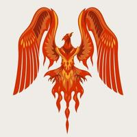 Red Phoenix Mascot Character Logo Design with Fire Effect vector
