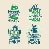 Farm Quotes set with Hand writing and Animals Barn Pickup Tractor and Vegetables Background vector