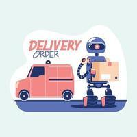mensajero droide entrega segura de alimentos y comestibles en el hogar durante la pandemia del coronavirus covid19 vector