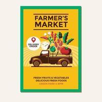 Farmers Market Vector Illustration of Farmers Pickup Truck for Poster Flyer Invitation