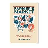 Ilustración de vector de mercado de agricultores de camioneta de agricultores para invitación de volante de cartel