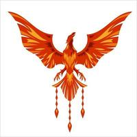 diseño de logotipo de personaje de mascota de fénix rojo con efecto de fuego vector