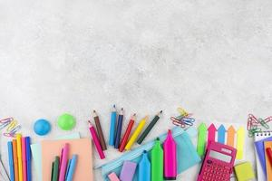 Back to school background with school supplies background photo
