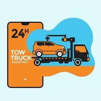 Car Towing Service Mobile Application Concept vector