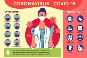 cartel e infografía de medidas preventivas contra el coronavirus vector