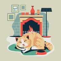 gatito mascota duerme en alfombra ovalada alfombra alfombra junto a la chimenea vector