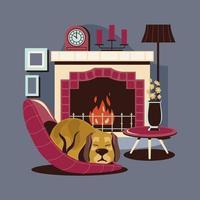 perro mascota durmiendo junto a la chimenea vector