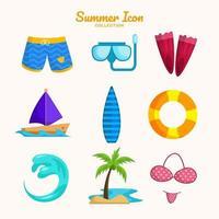 Summer Beach Icon Collection vector