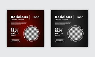 Delicious food discount social media post templates for digital marketing business marketing web banner poster design vector