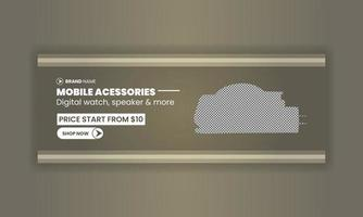 Mobile accessories promo template banner and cover for social media post design business marketing digital marketing vector
