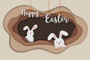 Tarjeta de felicitación de Pascua feliz con lindos conejos felices en el agujero sobre papel de fondo de arte vector