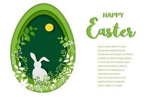 Diseño de arte de papel de tarjeta de felicitación de pascua feliz con conejito en bosque de primavera vector