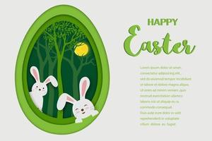 Tarjeta de felicitación de Pascua feliz con arte de papel de conejitos en forma de huevo de fondo vector