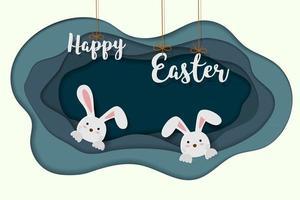 tarjeta de felicitación de pascua feliz en papel cortado y estilo artesanal con conejos felices en casa subterránea vector