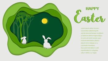 Feliz Pascua fondo de papel de arte paisaje con liebres en el bosque de primavera vector