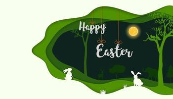 Felices Pascuas con conejos en papel arte fondo nocturno vector