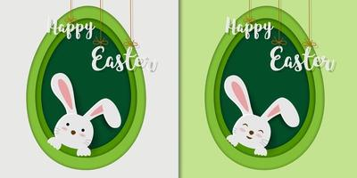 Tarjeta de felicitación de Pascua feliz con conejitos sobre fondo de formas de huevo vector