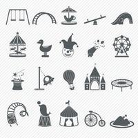 Amusement Park icons set illustration vector