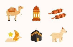 Eid Al Adha Mubarak con Set vector